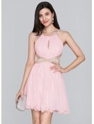 A-Line Scoop Neck Short/Mini Chiffon Homecoming Dress With Ruffle Beading Sequins