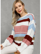 Color Block Ribbet Polyester round Neck Gensere Gensere