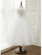 A-Line/Princess Asymmetrical Flower Girl Dress - Tulle Sleeveless Scoop Neck With Beading/Back Hole