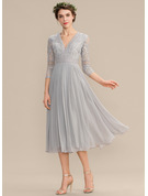 V-neck Tea-Length Chiffon Lace Cocktail Dress With Pleated