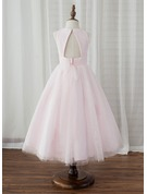 A-Line/Princess Tea-length Flower Girl Dress - Tulle Sleeveless Scoop Neck With Back Hole