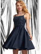 A-Line Square Neckline Short/Mini Satin Prom Dresses With Lace Sequins