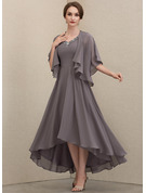 V-neck Asymmetrical Chiffon Mother of the Bride Dress With Beading Sequins