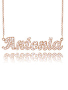 Christmas Gifts For Her - Custom 18k Rose Gold Plated Silver Name Necklace With Diamond
