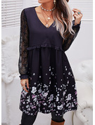 Floral Lace Print Shift V-Neck Long Sleeves Midi Casual Tunic Dresses