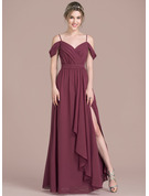 V-neck Floor-Length Chiffon Prom Dresses With Bow(s) Split Front Cascading Ruffles