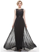 A-Line Scoop Neck Floor-Length Jersey Evening Dress With Sequins