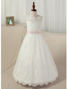 Ball Gown Floor-length Pageant Dresses - Satin/Tulle/Lace Sleeveless Scoop Neck With Sash/Appliques/Back Hole