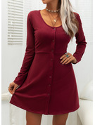 Solid A-line Round Neck Long Sleeves Midi Casual Skater Dresses