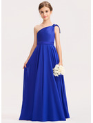One-Shoulder Floor-Length Chiffon Charmeuse Junior Bridesmaid Dress With Ruffle