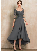 Sweetheart Asymmetrical Chiffon Lace Evening Dress With Beading Sequins