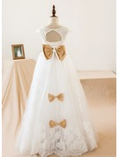 A-Line/Princess Floor-length Flower Girl Dress - Tulle/Lace Sleeveless V-neck With Sash/Bow(s)/Back Hole
