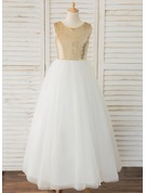 A-Line Floor-length Flower Girl Dress - Tulle/Lace/Sequined Sleeveless Scoop Neck With V Back