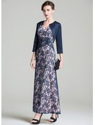 A-Line/Princess V-neck Ankle-Length Lace Mother of the Bride Dress With Ruffle