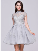High Neck Short/Mini Organza Prom Dresses