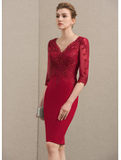 Sheath/Column V-neck Knee-Length Satin Lace Mother of the Bride Dress With Sequins