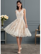 A-Line/Princess V-neck Knee-Length Tulle Lace Wedding Dress