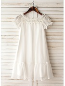 A-Line/Princess Knee-length Flower Girl Dress - Chiffon Short Sleeves Scoop Neck With Ruffles