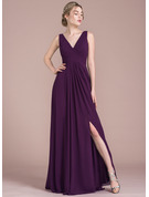 A-Line/Princess V-neck Floor-Length Chiffon Prom Dresses With Ruffle Split Front