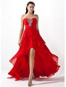A-Line/Princess Sweetheart Asymmetrical Chiffon Prom Dresses With Beading Cascading Ruffles