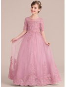 Ball-Gown/Princess Floor-length Flower Girl Dress - Tulle/Lace 1/2 Sleeves Scoop Neck With Sequins