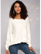 Cable-knit Solid Polyester Round Neck Pullovers Sweaters