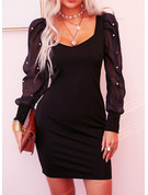 Solid Beaded Bodycon V-Neck Long Sleeves Puff Sleeves Midi Little Black Party Dresses