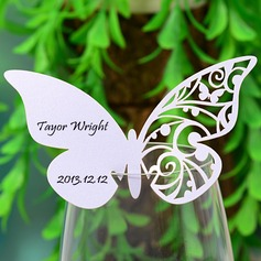 Butterfly Design Pearl Paper Place Cards  (131037411)