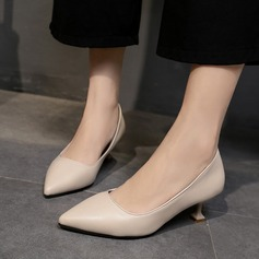 Women's PU Spool Heel Pumps Closed Toe With Others shoes