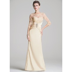 Sheath/Column Scoop Neck Floor-Length Charmeuse Mother of the Bride Dress With Ruffle Beading Appliques Lace Sequins