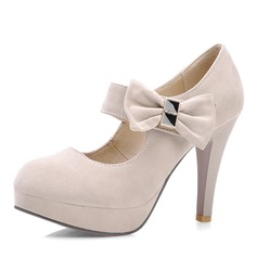 Women's Suede Stiletto Heel Pumps Platform Closed Toe With Bowknot shoes