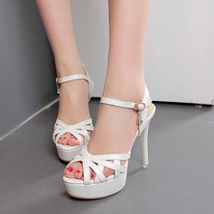 Women's Suede Leatherette Stiletto Heel Sandals Peep Toe With Rhinestone Buckle shoes (087116045)