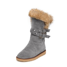 Women's Suede Flat Heel Boots Mid-Calf Boots Snow Boots With Rivet Buckle Fur shoes (088140232)
