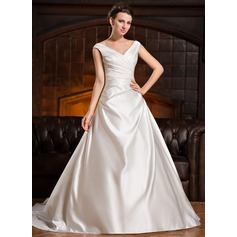 A-Line/Princess V-neck Chapel Train Satin Wedding Dress With Ruffle