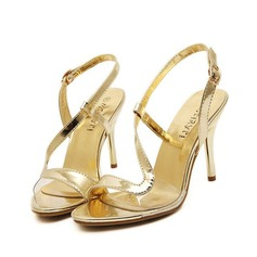 Women's Leatherette Stiletto Heel Sandals Pumps Peep Toe With Buckle Hollow-out shoes