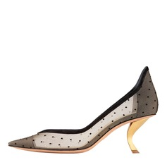 Women's Mesh Kitten Heel Closed Toe Pumps