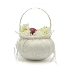 Satin With Lace Flower Basket (198076178)