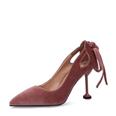 Women's Suede Spool Heel Closed Toe Pumps With Bowknot