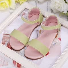 Girl's Peep Toe Real Leather Sandals Flats Sneakers & Athletic Flower Girl Shoes With Velcro