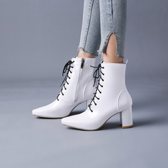 Women's Patent Leather Chunky Heel Pumps Boots Mid-Calf Boots With Zipper Lace-up shoes (088221286)
