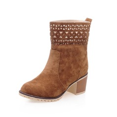 Women's Suede Chunky Heel Ankle Boots Martin Boots With Rivet shoes