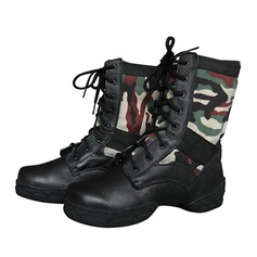 Unisex Real Leather Boots Jazz With Lace-up Dance Shoes