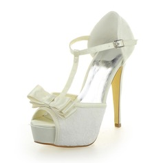 Women's Lace Satin Cone Heel Peep Toe Platform Sandals With Bowknot