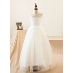 A-Line/Princess Floor-length Flower Girl Dress - Lace Sleeveless Scoop Neck With Lace/Sequins