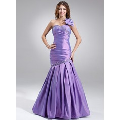 Trumpet/Mermaid One-Shoulder Floor-Length Taffeta Prom Dress With Ruffle Beading Bow(s)