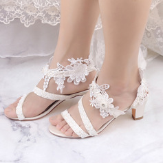 Women's Satin Sandals With Pearl