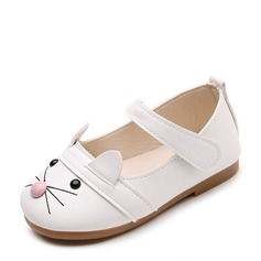 Jentas Round Toe Leather flat Heel Flate sko Flower Girl Shoes med Velcro Dyr Ut