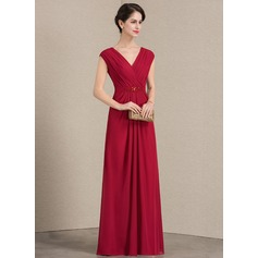 V-neck Floor-Length Chiffon Mother of the Bride Dress With Ruffle Beading