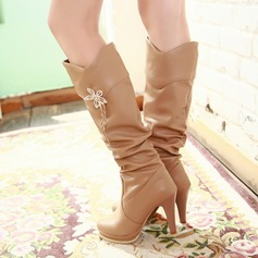 Women's Leatherette Stiletto Heel Platform Closed Toe Mid-Calf Boots With Rhinestone shoes