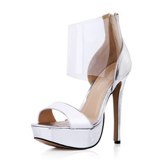 Leatherette Plastics Stiletto Heel Sandals Pumps Platform Peep Toe With Zipper shoes